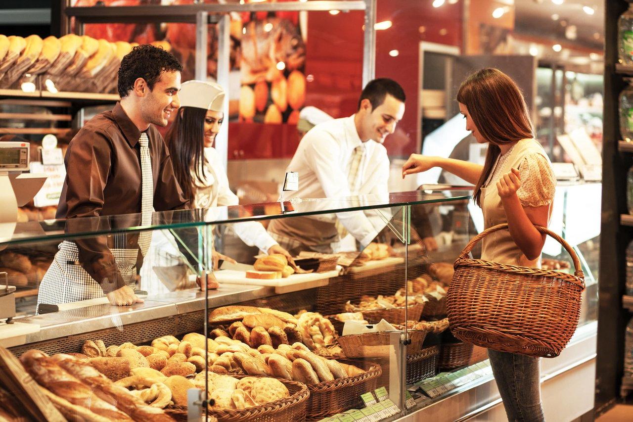 Customer at a bakery